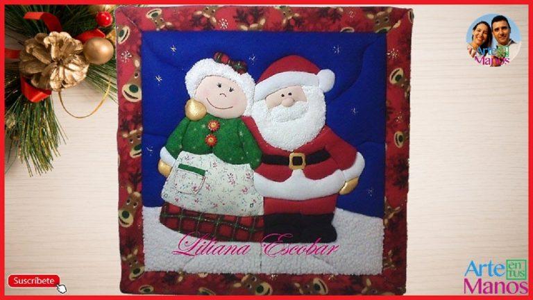 Cuadro Navideño Santa y Señora Claus, en técnica patchwork sin aguja