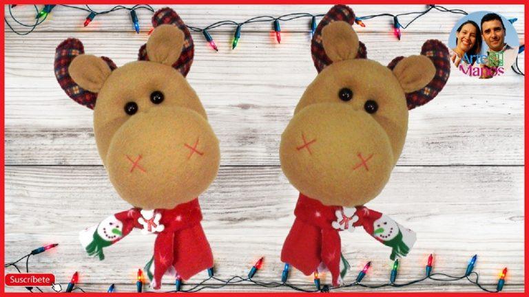 Maracas Navideñas con cabeza de Reno en fieltro, paño lency