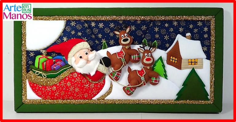 Cuadro en Patchwork sin aguja Santa Claus y su Trineo