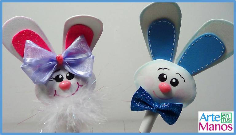 Como decorar tus lápices con Conejos en Foami