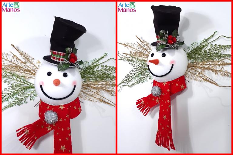 Muñeco de Nieve para la Copa del Árbol o para Decorar las Puertas