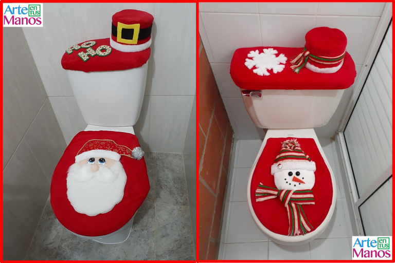 Cómo hacer Juegos de Baño para Navidad, Santa Claus y Muñeco de Nieve