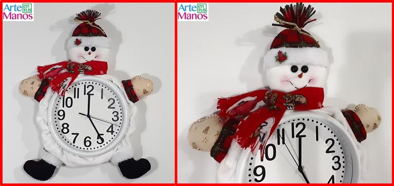 Cómo decorar un Reloj para Navidad con Muñecos de Nieve