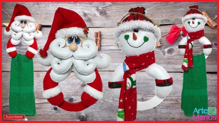 Cómo Hacer un Porta Toallas o un Porta Limpión con Santa Claus y Muñeco de Nieve