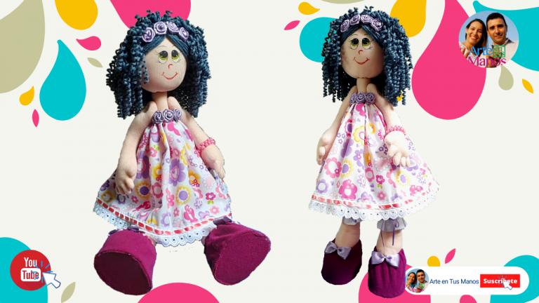 Muñeca de Trapo con Cabellos Rizados en Lana ATM