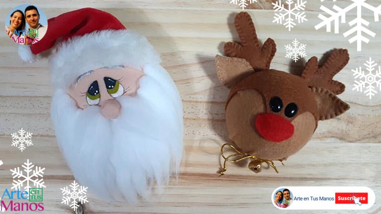 Imanes Navideños con Santa Claus y Reno
