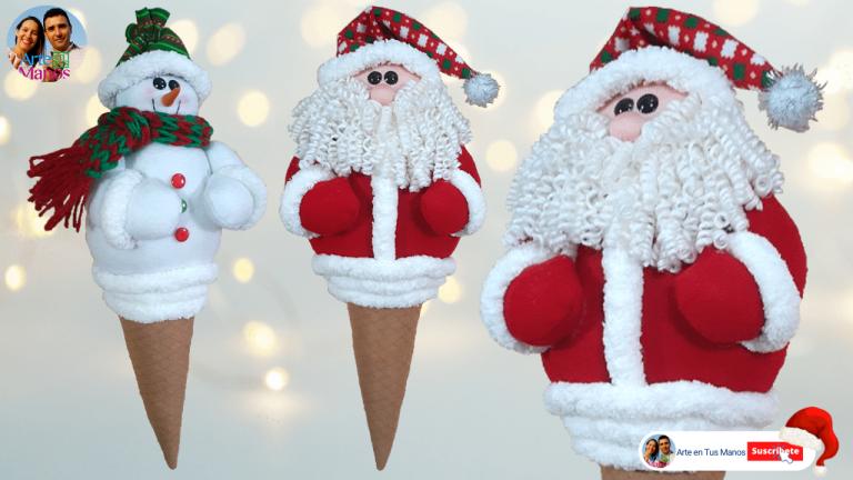Conos Navideños Con Santa Claus y Muñeco de Nieve Arte en Tus Manos