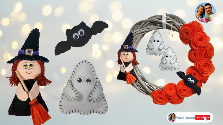 Corona Para Halloween, Brujita, Murciélago y Fantasmitas con Arte en Tus Manos