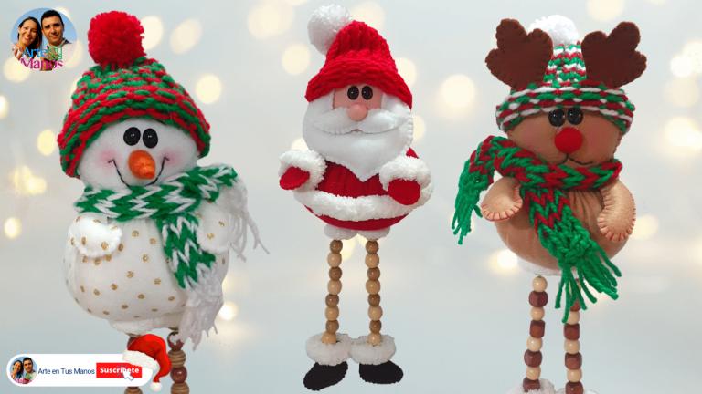 Muñecos Navideños Fáciles | Santa Claus, Reno y Muñeco de Nieve con Arte en Tus Manos