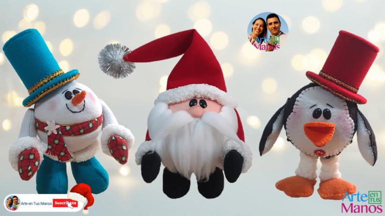 Esferas Navideñas Con Santa Claus, Nieve y Pingüino | Con Arte en Tus Manos